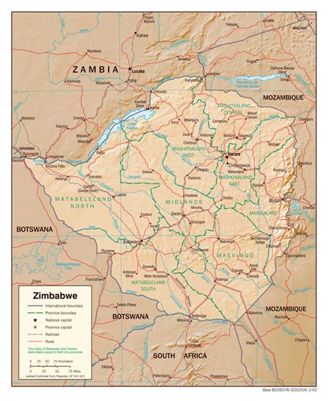 printable map of zimbabwe in africa detailed administrative map of zimbabwe with relief