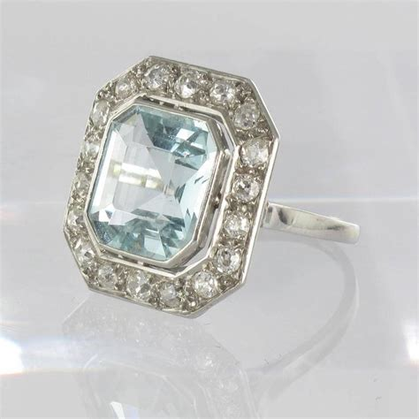deco aquamarine gold platinum ring at