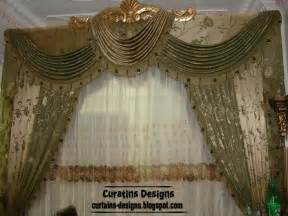Luxury drapes curtain design for bedroom green with gilded crown