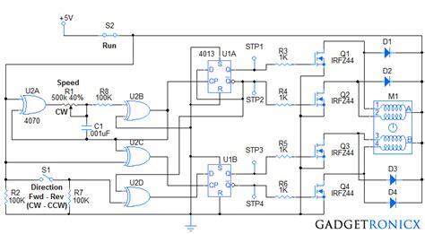 stepper motor controller circuit gadgetronicx