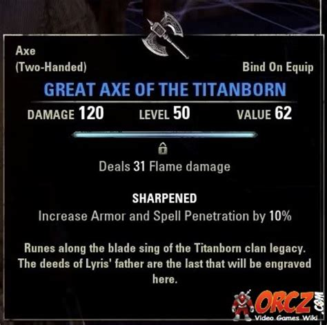 videogames testo eso great axe of the titanborn orcz the