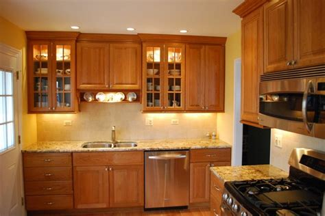 simple kitchen with rich cabinets traditional