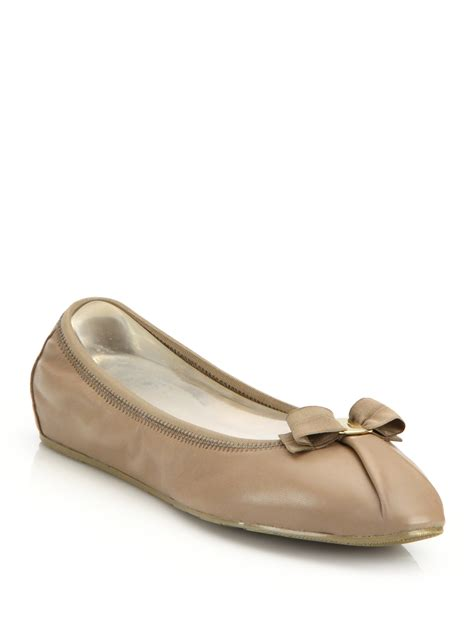 leather ballet flats ferragamo my leather ballet flats in brown lyst