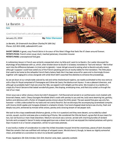 new year restaurant press release about le baratin nyc