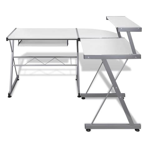 Vidaxl Co Uk Computer Desk Workstation With Pull Out White Desk With Keyboard Tray