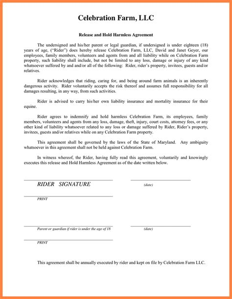 waiver of liability and hold harmless agreement template 3 waiver of liability and hold harmless agreement