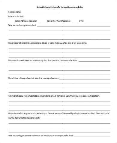 Letter Of Recommendation Information Sheet basic letter of recommendation sles 30