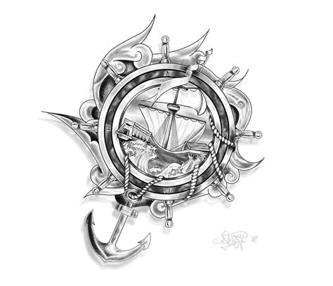 ship wheel tattoo design design ship anchor and ropes by drocel on deviantart