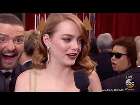 emma stone youtube interview justin timberlake hilariously crashes emma stone s oscars
