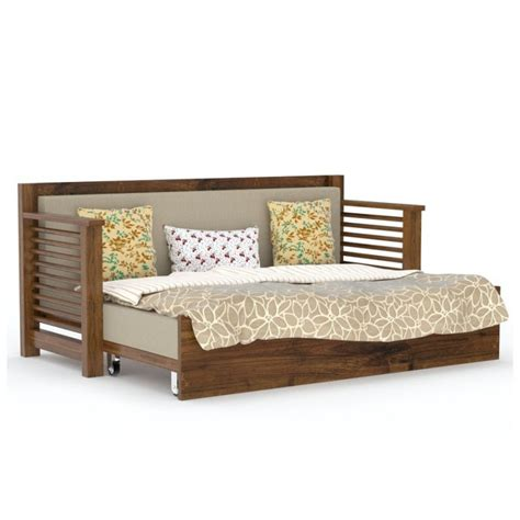 wooden sofa come bed design strip sofa cum bed gloss honey finish wooden sofas