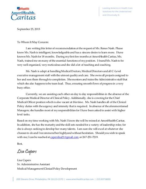 Reference Letter Nash Recommendation Letter From Capers