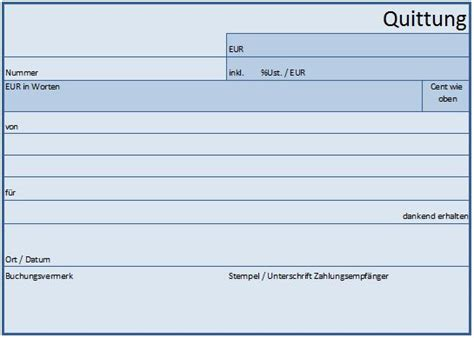 Microsoft Word Vorlage Quittung quittung vorlage muster beispiel f 252 r excel word pdf
