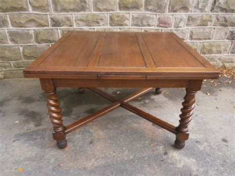 large antique oak barley twist extending dining table
