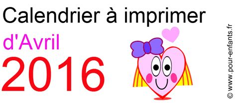 Calendrier 5 Avril 2016 Calendriers D Avril 2016 224 Imprimer Dessin De Coeur D