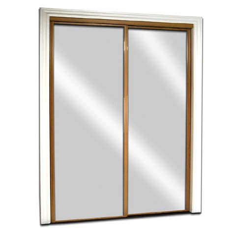 Sliding Glass Closet Doors Lowes Shop Reliabilt Oak Mirrored Sliding Door Common 72 In X 80 5 In Actual 72 In X 80 Inches At