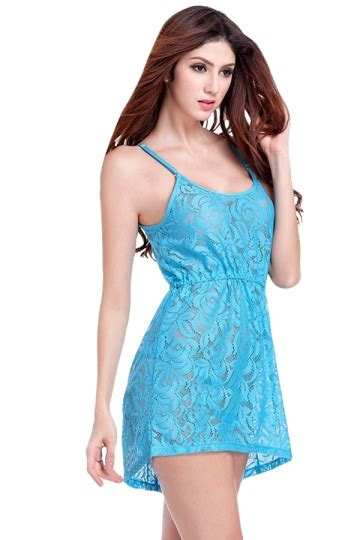 Dress Import Murah 3181 Blue blue womens cut out see through tunic lace dress pink