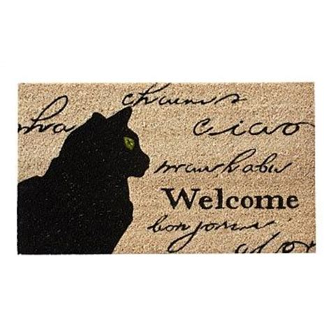 Cat Door Mat by Rugs Floor Mats Briscoes Black Cat Welcome Coir Door