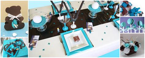 Bien Chemin De Table Bleu Turquoise #4: Bapteme-bebe-theme-marron-turquoise.jpg