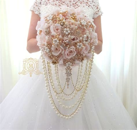 Ready Mk8550 Rosegold ready to ship 9 quot luxury silk flowers gold brooch bouquet