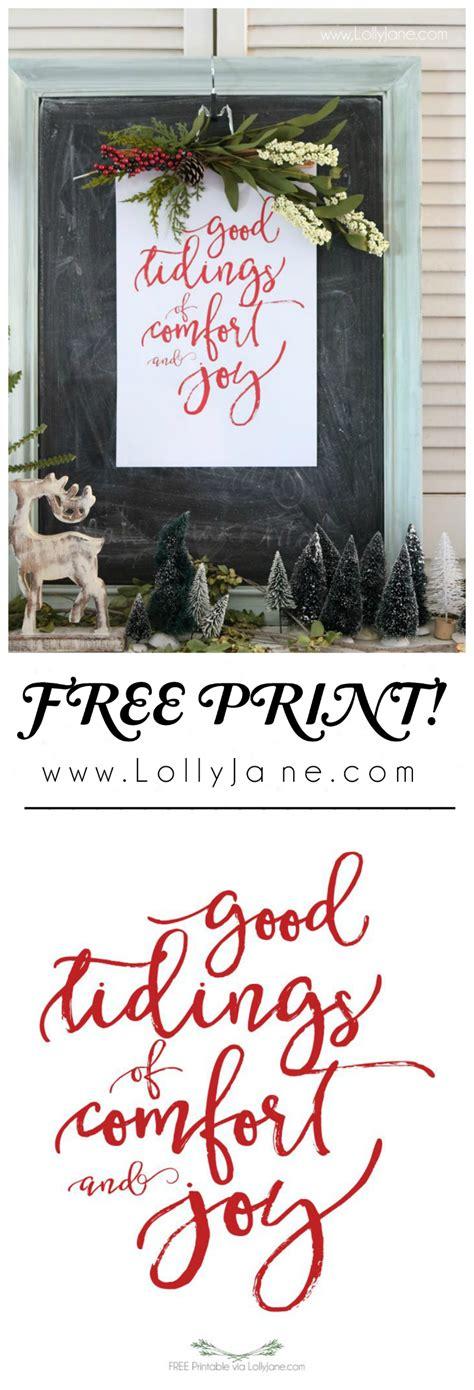 good tidings of comfort and joy lyrics christmas vignette with free printable lolly jane