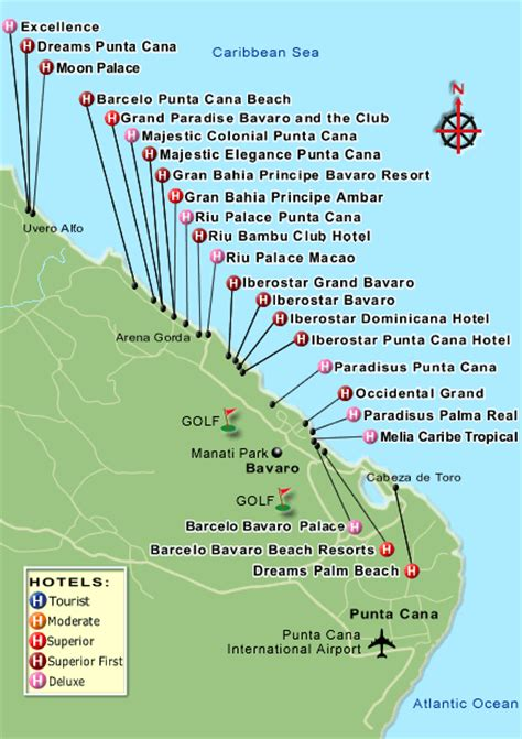 Dreams Palm Beach Resort by Map Of Punta Cana Hotels
