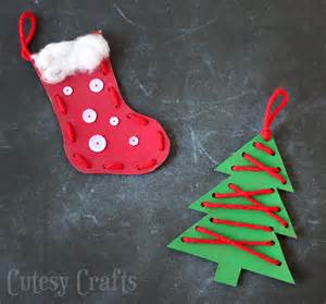 toddler craft craft for lacing ornaments cutesy crafts