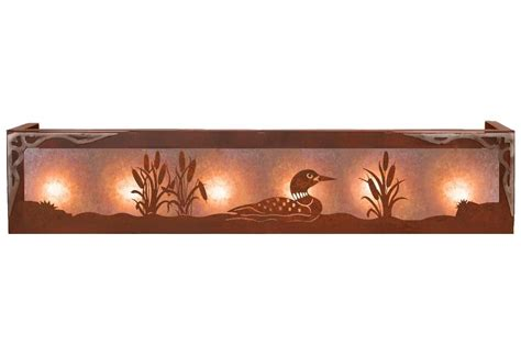 Rustic Vanity Lights Burnished Swimming Loon Six Light Metal Vanity Light Rustic Light Fixture