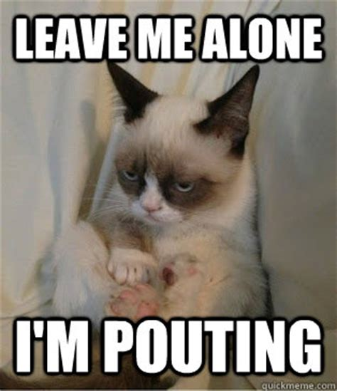 Leave Memes - leave me alone i m pouting grumpy cat sits quickmeme