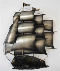 contemporary metal wall or sculpture sailing ship