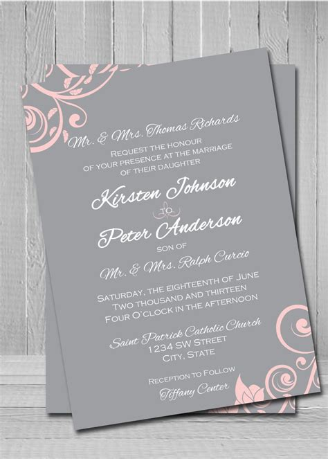 grey and pink wedding invitation cards customized wedding invitations pink wedding invitations