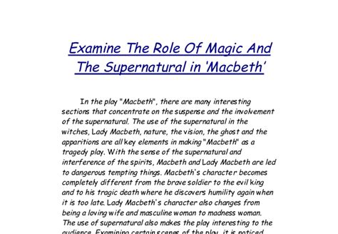 themes of the supernatural in hamlet supernatural in macbeth essay supernatural elements in