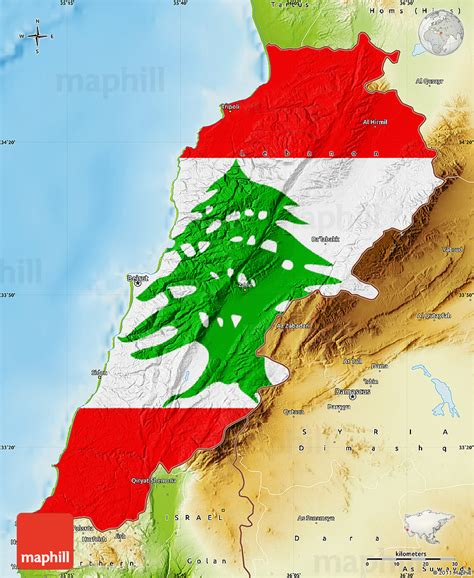 physical map of lebanon flag map of lebanon physical outside flag centered