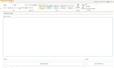 how to layout a email tweaking the blank web part page template in sharepoint