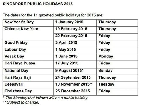 bank holidays 2015 govt releases 2015 dates todayonline