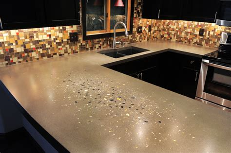 Glass Chips For Concrete Countertops by Kitchen Countertops From Uncommon Components