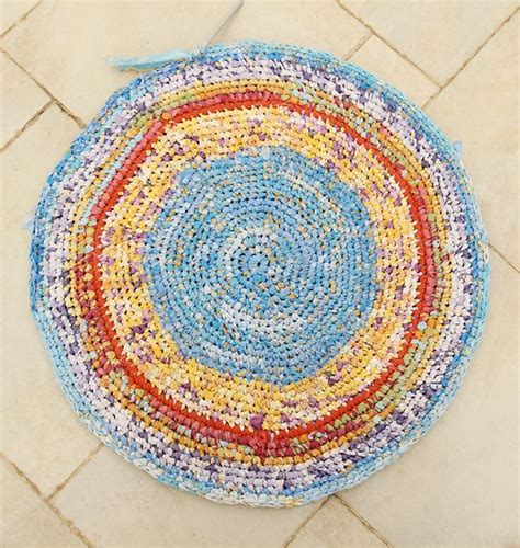 how to make a rag rug from sheets crocheted rag rug from sheets in progress creative