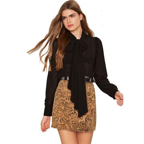 Top Us Pakaian Wanita Blouse Hitam Putih 1 high quality grosir perempuan dasi kupu kupu blus dari china perempuan dasi kupu kupu blus