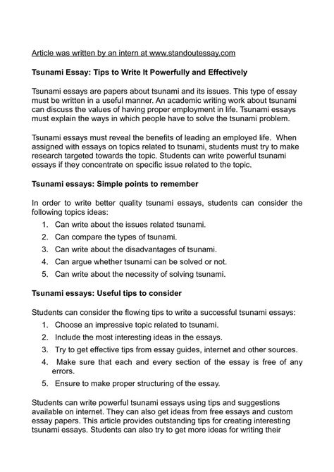 Tsunami Essay by Calam 233 O Tsunami Essay Tips To Write It Powerfully And Effectively