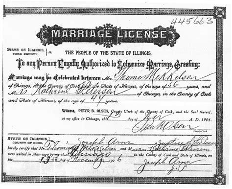 Marriage License Records Wa Wedding Planner Marriage Documents In Chicago