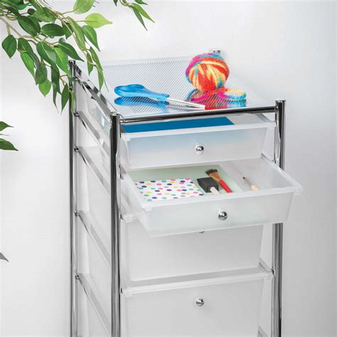 Rolling Storage Drawers Homecrate 6 Drawer Rolling Storage Cart Drawers Chrome