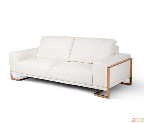 white genuine leather sofa michael amini mia bella modern white genuine leather