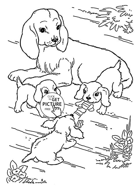 coloring pages of puppies and dogs mother dog and puppies coloring page for kids animal
