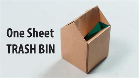 Origami Garbage Bin - easy paper trash bin one sheet of paper henry phạm