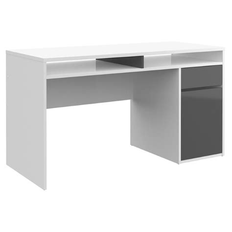 desk in white high gloss and truffle 80124uuci