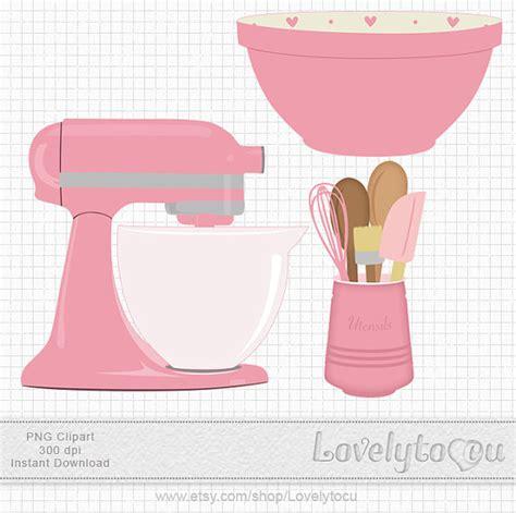 Kitchen Baking clip art set mixer utensils and bowl by Lovelytocu