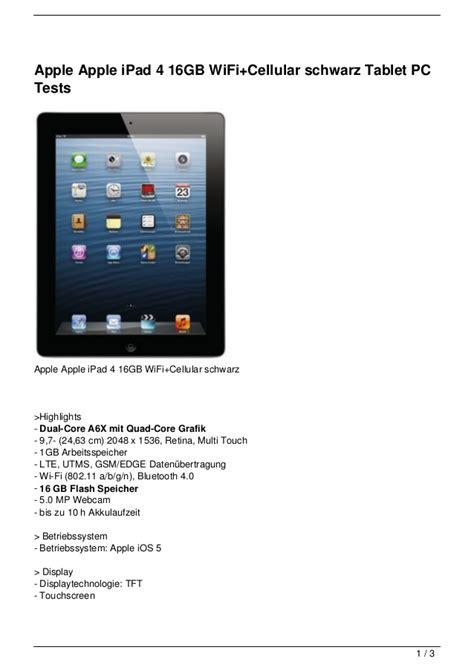 4 Wifi Cellular 16gb apple apple 4 16gb wifi cellular schwarz tablet pc tests