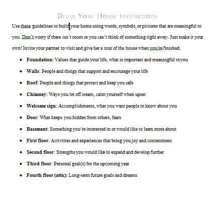 dbt house draw your house instructions activity adapted from dialectical behavior therapy