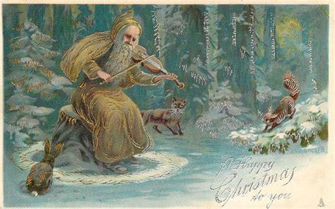 happy christmas   brown coated santa sits playing violin  fox squirrel tuckdb postcards
