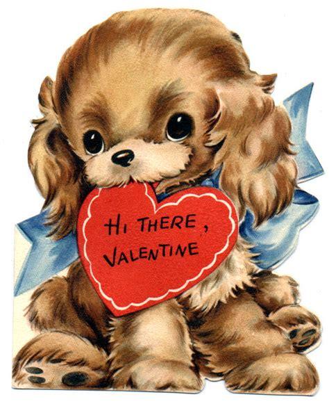 puppy valentines look in the nook vintage valentines cards