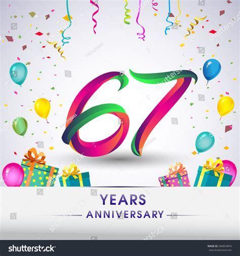 67th Anniversary Celebration Design Gift Box Stock Vector